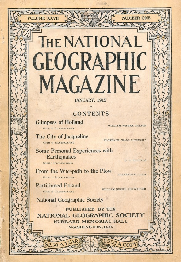 NATIONAL GEOGRAPHIC JANUARY 1915 ISSUE COVER