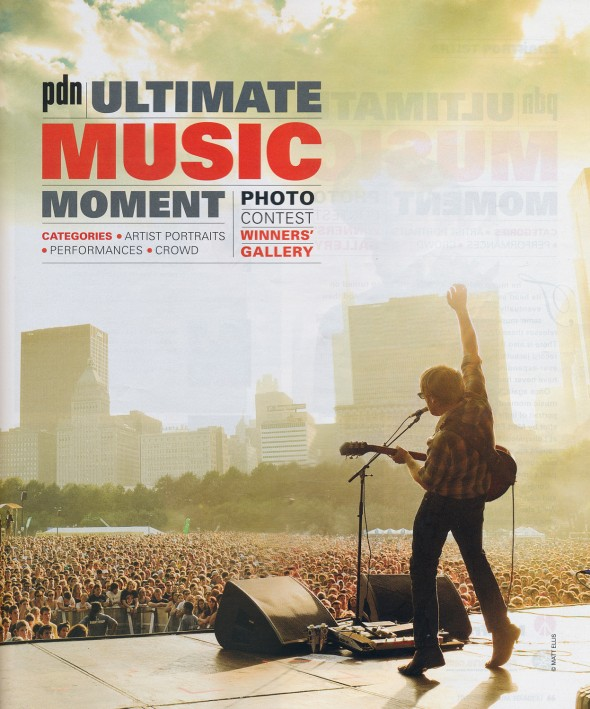TITLE PAGE FOR THE ULTIMATE MUSIC MOMENT PHOTO CONTEST IN THE DECEMBER ISSUE OF PDN.