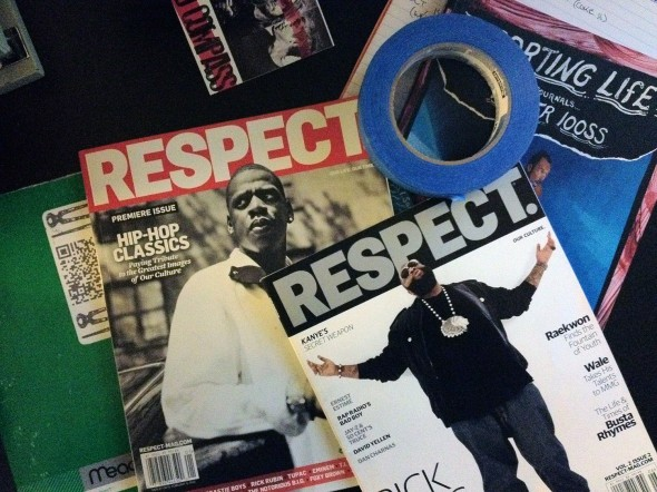 iPhone4s image of Todd Spoth's desktop featuring 2 issues of RESPECT magazine