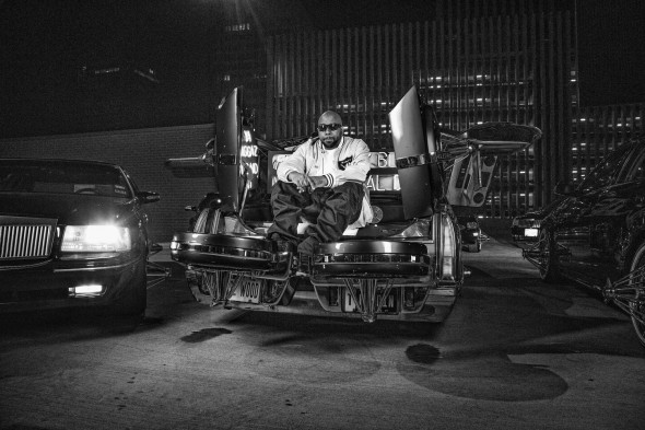 HOUSTON RAPPER TRAE THA TRUTH POSES ON A SLAB DURING A MUSIC VIDEO SHOOT WITH FUTURE PHOTO BY TODD SPOTH