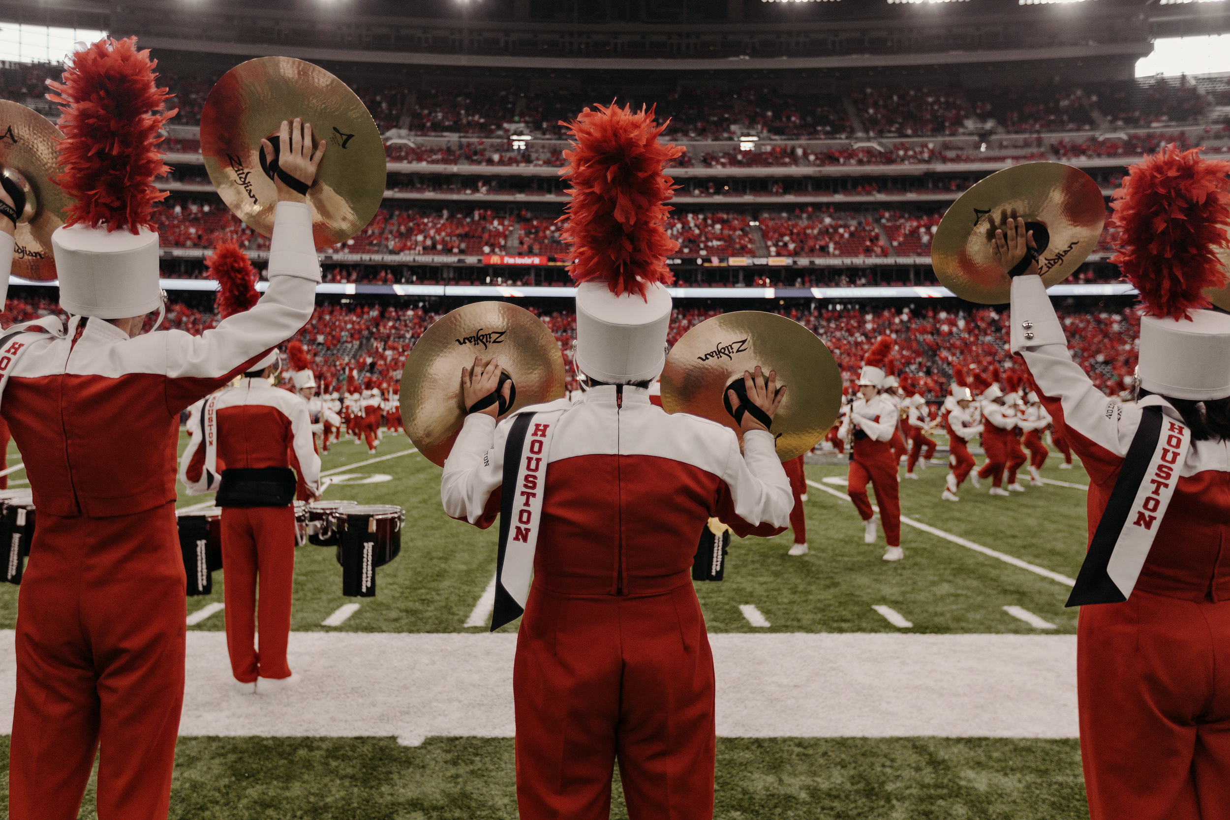 The University of Houston marching band performs prior to the game. Todd Spoth for The New York Times.