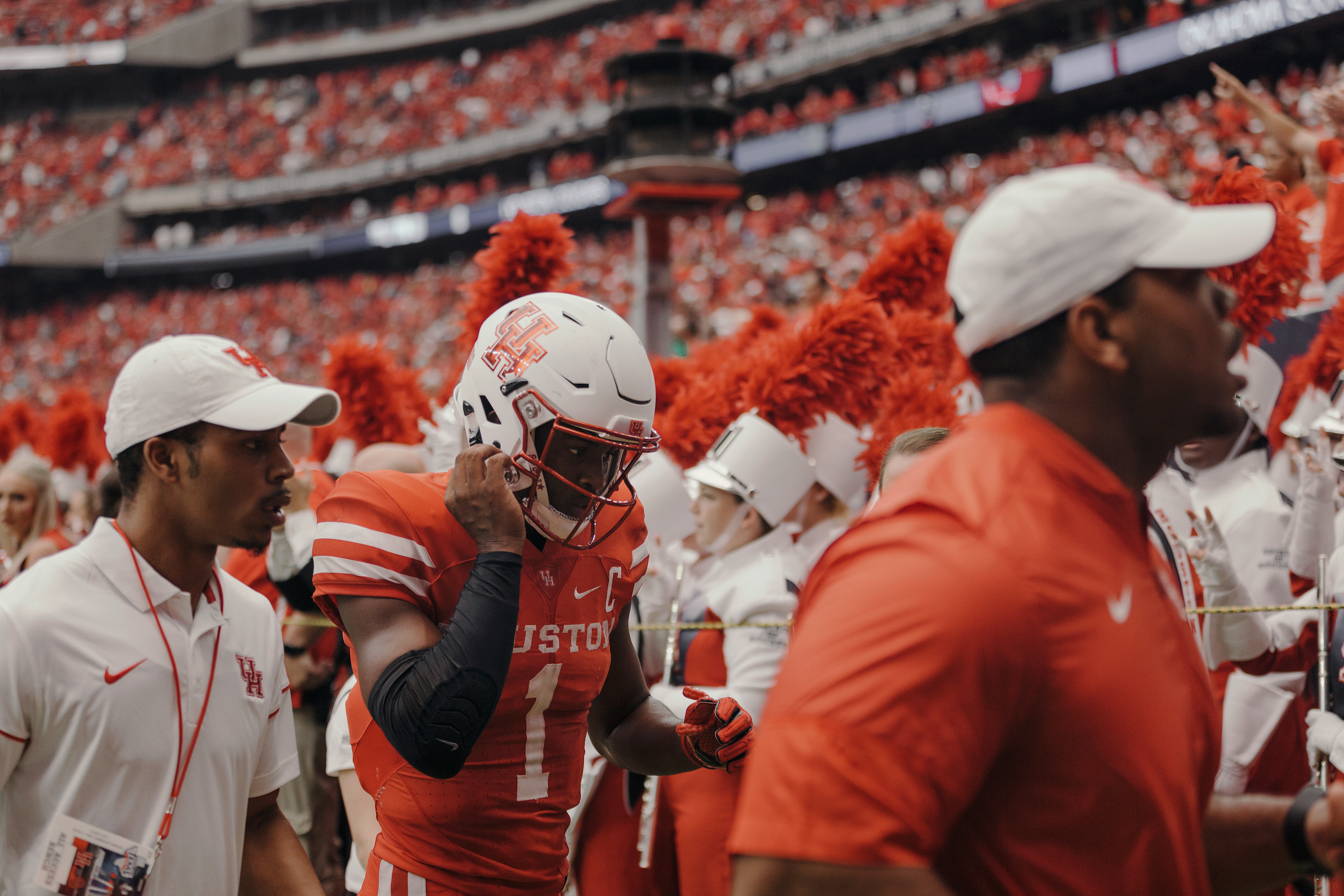 University of Houston quarterback, Greg Ward Jr., walks back to the locker room after the first half. Todd Spoth for The New York Times.